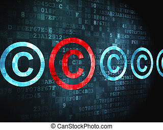 Law concept: Copyright on digital background - Law concept:...