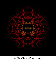 vintage dark red oriental kaleidoscope background - vintage...