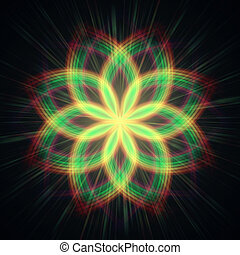 shining flower, rainbow lights in circles - abstract shining...