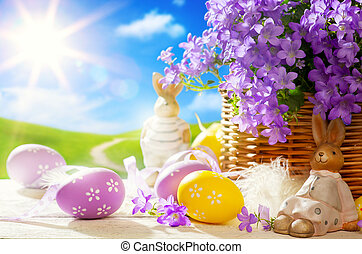 Art Easter bunny and Easter eggs - Easter bunny and Easter...