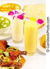 Indian Food Chicken Tandori and lassi