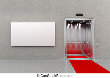 Elevator with red carpet and billboard - Open elevator in...