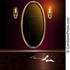 mirror and shoes - dark red room, large mirror and ladies...