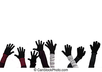 Gloves - Hands with winter gloves and copy space