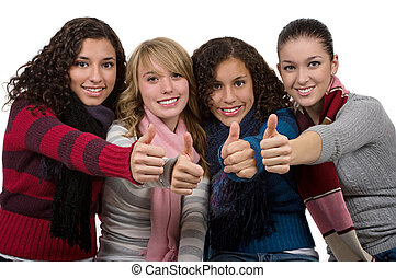 Success - Student friends with thumbs up