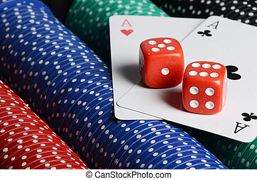 double aces with big stack and dice - Double aces with big...