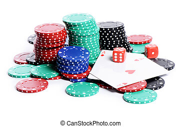 double aces with big stack and dice over white - double aces...