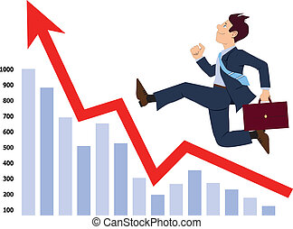 Businessman running up the graph - Energetic businessman...