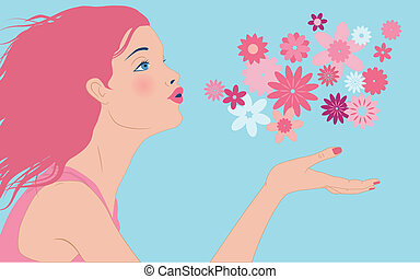 Dpring flowers - Profile of a beautiful young woman blowing...