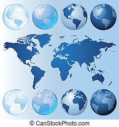 Blue globe kit and map for international