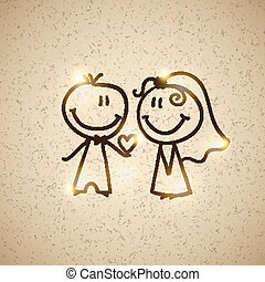 wedding couple, vector eps 10 - hand drawn wedding couple on...