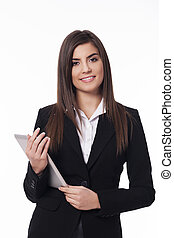 Portrait of happy woman with digital tablet