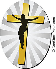 Jesus Christ with Cross - Jesus Christ silhouette on Golden...