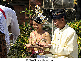 Indonesian wedding - The moment of wedding ceremony of the...