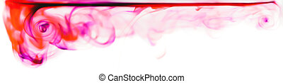 Ink in water, banner. - Banner of red and pink ink swirling...