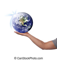 The World in Your Hand - Hand holding up the earth. Globe...