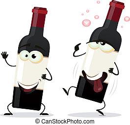 Feliz, e, bêbado, vermelho, vinho, garrafa, personagem
