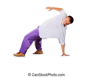 hip hop dancer balancing on hands isolated over white background