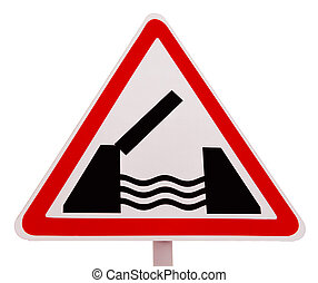 Swing bridge - Road sign drawbridge on white background a