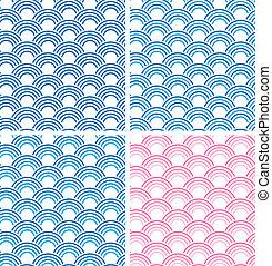 eps10, mönster, sätta, japansk,  seamless, vektor