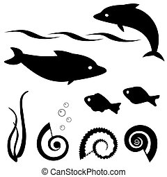Fish silhouettes vector set 1 - Set of fish and shell...