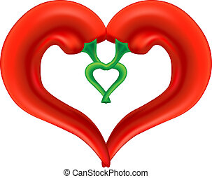 Chili Pepper Heart. Passion and Love Symbol. Vector, isolated on white background. EPS10