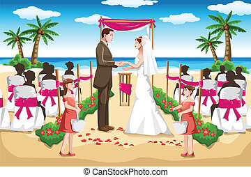 Beach wedding - A vector illustration of a couple wedding on...