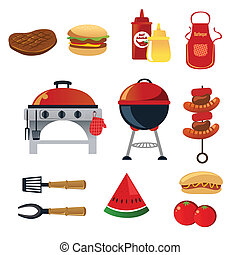 Barbeque icons - A vector illustration of barbeque icon sets