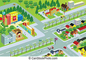 City map - A vector illustration of city map