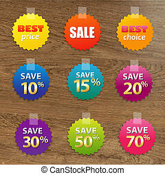 Big Colorful Sale Tags With Wooden Background, With Gradient...