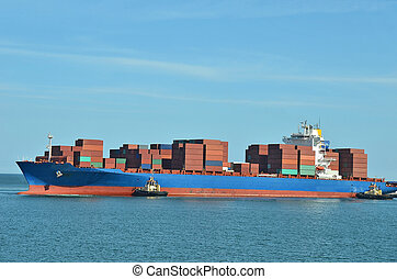 Container stack on freight ship in Black sea, Odessa,...