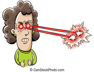 Laser Eyes - A cartoon woman shoots laser beams from her...
