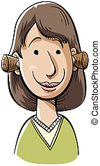 Plugged Ears - A cartoon woman with her ears plugged with...