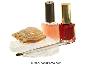 Nail art - materials and acessories for nail art on a white...