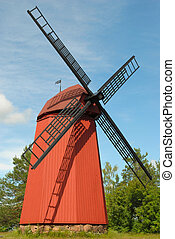 Old medieval windmill.