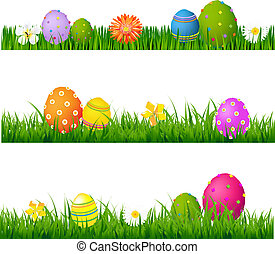Big Green Grass Set With Flowers And Easter Eggs With...