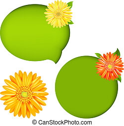 Nature Speech Bubbles - 2 Nature Speech Bubbles And Orange...