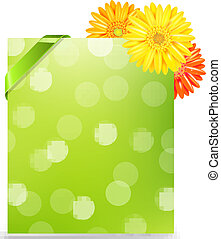 Yellow Gerber And Blank Gift Tag With Gradient Mesh,...