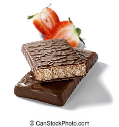 choco bar with strawberry - dietary chocolate bar with...