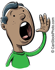 Shouting Man - A cartoon man shouts out