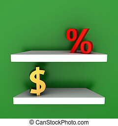Depository - Dollar and percentage symbols on the shelves -...