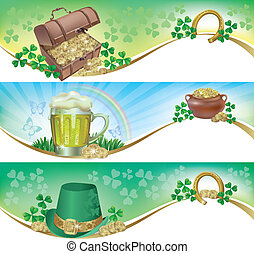 St. Patricks Day horizontal banners. Contains transparent...