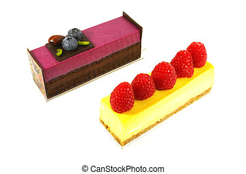 Fancy Fine Dining Cake Dessert Isolated on a White...