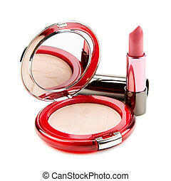 lipstick and compact powder isolated on white background