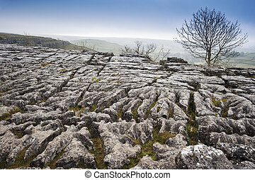 Autumn over limestone pavement at Malham in Yorkshire Dales National Park