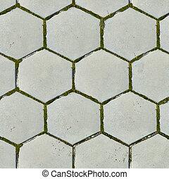 古い,  seamless, 舗装, 厚板, 六角形, 手ざわり