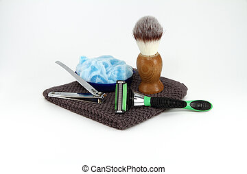 Mens Shaving Supplies Isolated - A simple collection of...