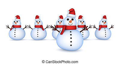 Christmas snowmans.Isolated on white background.3d rendered...