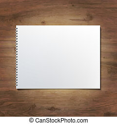 Notebook On Wooden Background, Vector Illustration