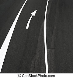 Road asphalt, white lines and right arrow sign - Road...